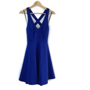 Lulu's Crossback Fit Flare Mini Dress Crepe V-Neck
